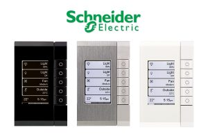 Lighting control switches on the wall by Schneider Electric