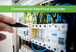 Electrician providing commercial electrical services onsite