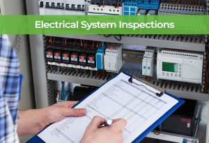 An electrician inspecting a electrical system periodically